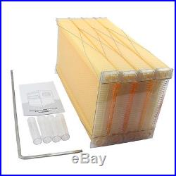 4Pcs Bee Hive Frames+1Pc Beehive Wooden House HighEfficiency Auto Flow Raw Honey
