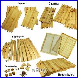 7pcs Upgraded Auto Hive Flow Frames + Beehive Beekeeping Natural Wooden House