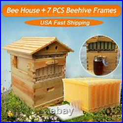 Automatic Fir Wooden Beehive House Bee Hive Frame Bee Bees Beekeeping 7PCS Box