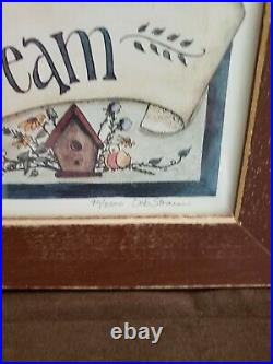 Deb Strain Framed Wall Art Limited Edition Signed Bee hive birdhouses 19x15