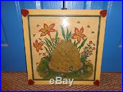 G. B. French Beehive Folk Art Theorem Watercolor. Signed, Framed