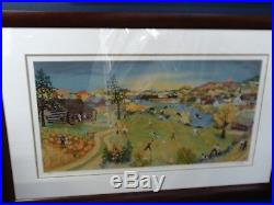 Sunday Evening By Will Moses S/n Print Framed Bee Hives Baseball Log Cabin Canoe