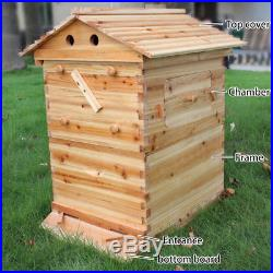 Wooden Beekeeping Beehive Brood House Box For 7x Auto Flow Honey Hive Frames F